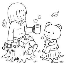 おやつを食べる女の子とくまのイラストぬりえ 子供と動物の