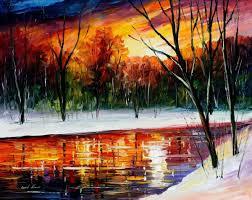 winter spirit palette knife landscape oil painting on canvas by leonid afremov size