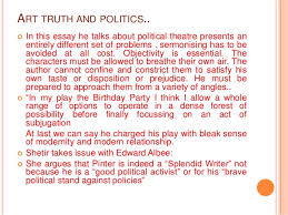 paper political reading of the birthday party 8 art truth and politics