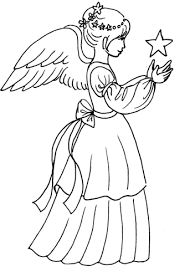 Small Picture Christmas Angel Girl with Star coloring page Free Printable