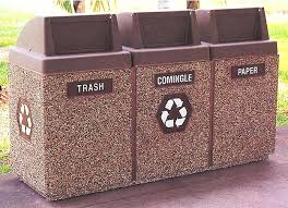 trash can receptacles 3 bin recycling waste containers outdoor trash receptacles parks