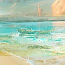 iarts dx0718 1 hand painted landscape waves on beach of cayman island oil painting light blue
