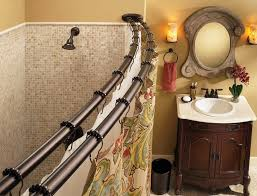 curtains not included view larger increase your shower space with this double curved shower rod