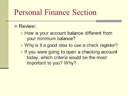 Personal Finance Section Opening And Managing A Checking Account