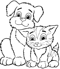 Small Picture cat and dog coloring pages to download and print for free