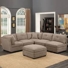6 piece modular sectional. Contemporary Sectional Barrington 6 Piece Modular Beige Fabric Sectional Sofa Intended