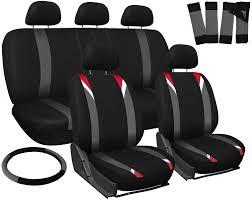 seat covers for suv van truck 17pc red gray black steering wheel belt head rests