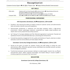 Resume Objective Examples For Receptionist Of Resumes Skills Pics
