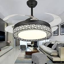 42 inch ceiling fans 4 retractable blades led ceiling fan three color change crystal chandelier with remote control black white black ceiling fans