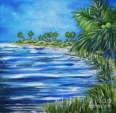 palm trees painting beach scene by sharon wood