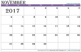 november 2017 calendar editable