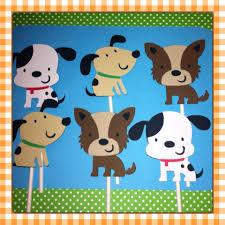 Dog Birthday Decorations 12 Puppy Cupcake Toppers Puppy Baby Shower Puppy Birthday