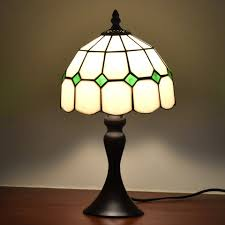 Us 9899 Aliexpresscom Buy Tiffany Style Table Desk Lamps 8inches White Green Accent Small Mini Stained Glass Lamp Shade Night Lights For Bed