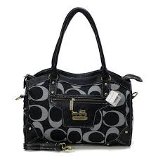 Coach Legacy Logo In Signature Medium Black Satchels 21027