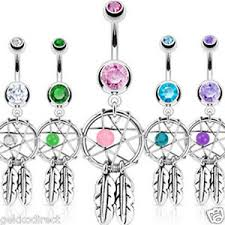 Dream Catcher Belly Bar Surgical Steel Dream Catcher Belly Bar with Bead and Feather 23