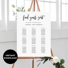 7 Sizes Wedding Seating Chart Template Editable Wedding Table Seating Plan Sign Pdf Instant Download Brushed Calligraphy Bcc