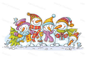 Happy Colorful Snowmen With Christmas Ornaments