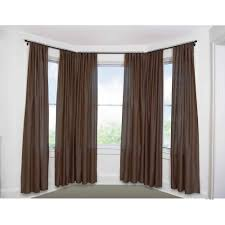gorgeous terrific brown curtain on baywindow plus charming curtain rods and extra long curtain rod