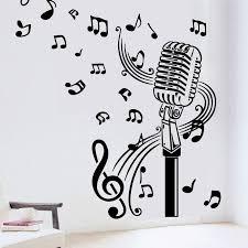 Microphone Mic Music Musical Notes Art Words Wall Sticker Art Music
