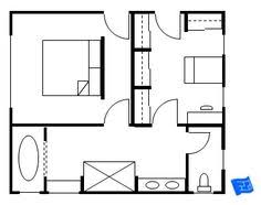 master bedroom floor plan with entrance into the bedroom and the closet each with an