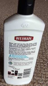 picture of the rear of a bottle of weiman glass top stove cleaner bottle