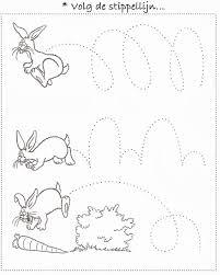Peuter Tekening Volg De Stippellijn Konijnen Easter Preschool