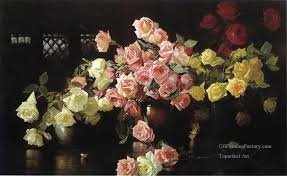 3 roses flower painter joseph decamp