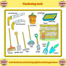 basic gardening tools. basic gardening equipment vocabulary. learning about tools l