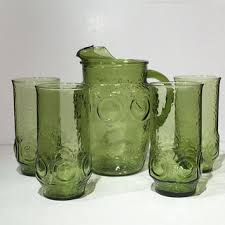 green glass pitcher and drinking glass set vintage set of 4 fou