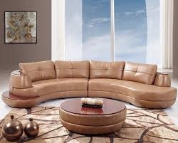 This two-piece curved leather sectional features a rounded edge shape with  rich wood plating on the top and small side platform.