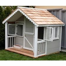 details about children wood playhouse kids garden large cottage house outdoor cabin girls den