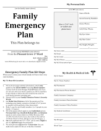 Emergency Response Plan Template Family Emergency plan printable documents for your emergency 1