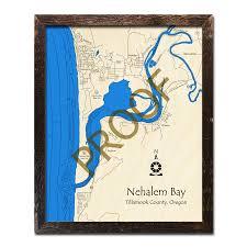 Nautical Wood Charts Nehalem Bay Or Wood Map 3d Nautical Wood Charts