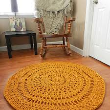 gold lace crochet doily rug geometric rug area rug mustard carpet floor mat
