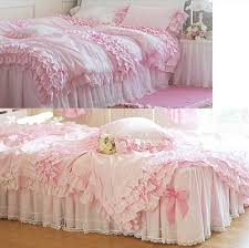 artistic pink ruffle bedding on com cute girl bed set 100 cotton princess ruffled lace
