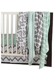 mint green crib bedding grey