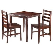 dining table with 2 chairs. 3 piece kingsgate dining table with 2 hamilton ladder back chairs wood/brown - winsome