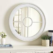 marin round white wood wall mirror