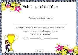 Volunteer Of The Month Certificate Template Year Download