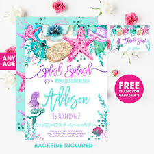 Birthday Invatations Details About Mermaid Birthday Invitation Personalized Printable Invitation Pdf