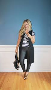 target long sleeveless vest faux leather leggings leopard print mule heels striped tee summer fashion