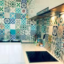 indoor encaustic cement tile floor wall geometric pattern blue ocean