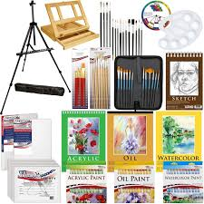 com us art supply 133pc deluxe artist painting set with aluminum and wood easels paint and accessories