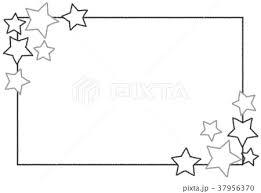 クレヨンフレーム 星 モノクロのイラスト素材 37956370 Pixta