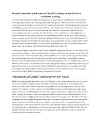 sample essay on the implications of digital technology on youth cultu  sample essay on the implications of digital technology on youth culture and career planning the proliferation