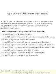 Sample Plumbing Cover Letter Plumber Resume Objective Examples Plumbing Top 8 Assistant Samples