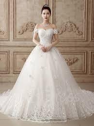 off the shoulder appliques bowknot wedding dress tbdress com