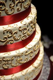 White Gold And Red Wedding Cake Detail Photo By Kenny Nakai
