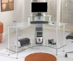 glass desk for office. Glass Office Desk Ideas Using Transparent Corner Computer With Silver Metal Stands: Full For
