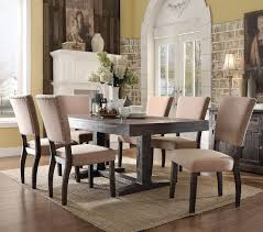 clever ideas dark oak dining room chairs acme 71710 salvaged table set furniture with six amish padded vintage
